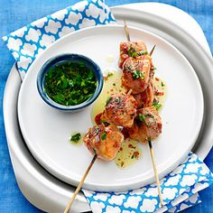 Pancetta Salmon Kebabs with Parsley Vinaigrette...this mouth-watering recipe comes from Christine Keff, chef at Seattle's Flying Fish Restaurant.