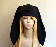 3c4a86d9f24 Fleece Rabbit Hat   SOLID BLACK Beanie Style with by CosplaySnap. Cosplay  Factory USA