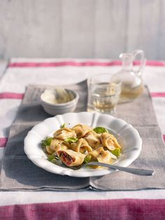 Making homemade pasta isn't as hard as you think. This recipe shows you how to make tortellini, with a cheese and parma ham filling, from scratch. Quick Pasta Recipes, Tortellini Recipes, Ham Recipes, Cheese Recipes, Soup Recipes, How To Make Tortellini, Ham Pasta, Parma Ham, Delicious Magazine