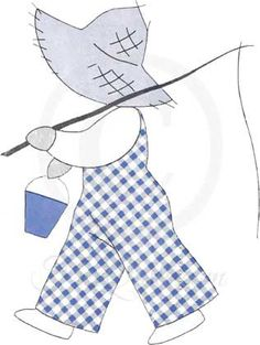 The Miniature Fisherman – Overall Bill - Sunbonnet Sue Applique Pattern
