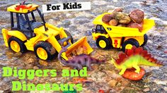 Kids Playing With DIGGERS AND DUMP TRUCK toys Fun At The Lake l GARBAGE ...