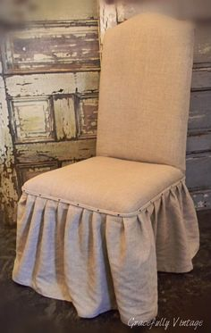 to do this to my dining room chairs Linen Ruffle Skirted Chairs