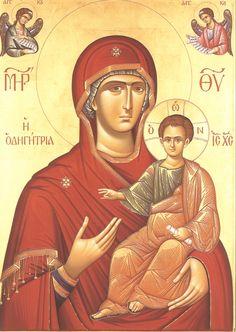 Παναγία Οδηγήτρια / Theotokos Hodegetria Virgin Mary, Byzantine Art, Orthodox Icons, Christian Art, Jesus Christ, Mona Lisa, Logs, Artwork, Child