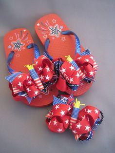 0eca61d3adccec Patriotic Flip Flops   Bow Set girls size by MySweetiePieBows