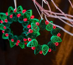 Quilled Paper Wreath Christmas Ornaments by PaperOrchidBoutique