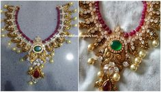 nakshi work and diamonds along with a ruby beads string as a top layer banthia Antique Jewellery Designs, Gold Jewellery Design, Ruby Necklace Designs, Gold Jhumka Earrings, Gold Chocker, Ruby Beads, Gold Jewelry Simple, Indian Wedding Jewelry, Antique Necklace