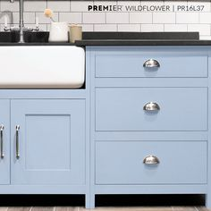 Add some tranquility to your kitchen by updating your cupboards and cabinets with a soft hue. #PaintWithPREMIER