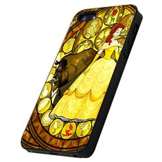 Disney Beauty And The Beast Rose Stained Glass - Print Hard Case iPhone 4/4s or iPhone 5 Case - Black or White Bumper (Option)