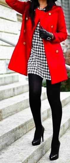 A red coat and a white and black houndstooth sheath dress are appropriate for both smart casual events and day-to-day wear