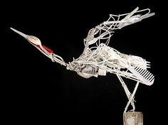 recycled materials, sculptures from recyled materials, sculptures from trash, eco art, plastic sculptures, sayaka ganz, garbage sculptures, animal sculptures