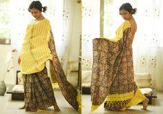 Khesh Cotton Sarees - Dovetailed With Love- Yellow And kalamkari- Khesh Cotton Saree By SuTa PC 20318 - 1