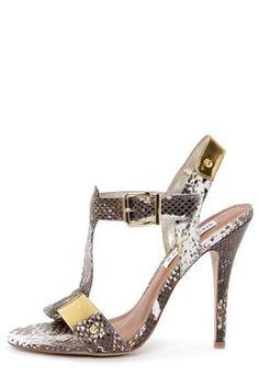 Steve Madden Reya Natural Snake and Gold T-Strap Dress Sandals at LuLus.com!