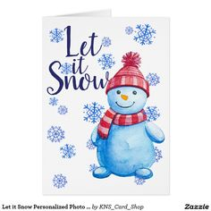 Let it Snow Personalized Photo Christmas Greeting Card
