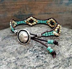 Beaded Leather Wrap Bracelet For Women Seed Bead Leather Wrap Bracelet Southwestern Jewelry Bohemian Jewelry - Perlen Schmuck Bracelets Wrap En Cuir, Bracelet Wrap, Beaded Wrap Bracelets, Jewelry Bracelets, Leather Bracelets, Unique Bracelets, Crochet Bracelet, Pandora Bracelets, Leather Jewelry