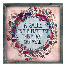 a smile is the prettiest thing you can wear weathered rustic wall art decor quote gift for teen tween young girl first apartment home girly room