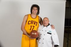 Chef Jim and Cleveland Cavs Center, Anderson Varejao, on the set of a TV commercial shoot!