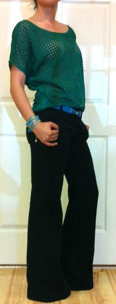 Black Genetic Denim wide leg pant and bright green basket weave top... @ Ella Blu