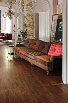 Anthropologie Home Decor Plaid Couch In A Living Decorating Before And After Room Design