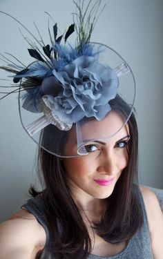 a918edc2821 Gray Fascinator Hat English Rose Couture Hat by EyeHeartMe Grey Fascinator