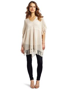 Design History Women's Crochet and Fringed Poncho