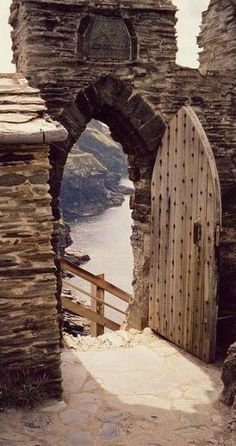 I want to go to the coast of England. Stairway to the sea, Tintagel castle, Cornwall, England. Oh The Places You'll Go, Places To Visit, Chateau Medieval, Medieval Door, Medieval Life, Cornwall England, North Cornwall, Cornwall Coast, Stairways