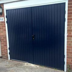 Midnight Blue Side HInged Garage Door installed in Oxfordshire Side Hinged Garage Doors, Garage Door Hinges, Garage Door Makeover, Home Renovation, Midnight Blue, Tall Cabinet Storage, Shed, House Design, Outdoor Decor