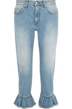 MSGM - Distressed Ruffle-trimmed High-rise Straight-leg Jeans - Light denim - IT46
