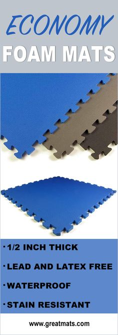 Take a look at these high quality economy foam puzzle mats from Greatmats. They're lead and latex free, waterproof and slip resistant!