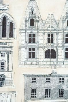 Town House Wallpaper Illustrated town house facade wallpaper in ink blue and beige.