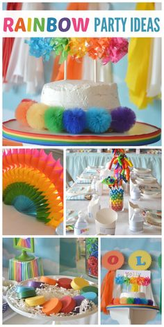 A Rainbow girl birthday party with colorful glitter, pom-poms, cake and cookies! See more party ideas at CatchMyParty.com!
