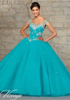 Quinceanera dresses by Vizcaya Embroidery and Beading on Tulle Matching Stole. Available in Capri, Coral, Mint, White