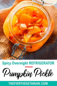 This spicy pumpkin refrigerator pickle comes together in just under 30 minutes to delight your tastebuds with its tangy spicy quick pickled pumpkin goodness! One of the easiest pumpkin recipes you'll ever make this fall, gluten-free savory spicy goodness you won't believe is made with fresh pumpkin, is low-calorie and contains NO oil. Have it today and customize to your tastes, with ginger as a great side to coconut rice and Asian dishes, or without to pair with creamy cheeses. Spicy Vegetarian Recipes, Vegetarian Side Dishes, Vegetarian Appetizers, Vegan Main Dishes, Vegan Dinner Recipes, Vegan Pumpkin Bread, Eating Vegetables, Coconut Rice, Pumpkin Recipes