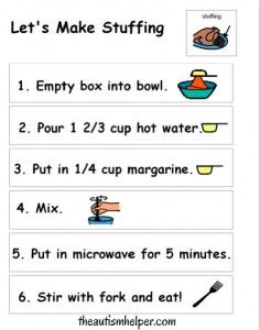Visual Stuffing Recipe - cooking is a great way to work on sequencing, following directions, and vocabulary!
