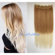 Light Honey Blonde to White Blonde Two Colors Clips in Ombre Hair... (505 DOP) ❤ liked on Polyvore featuring beauty products, haircare, hair styling tools, hairstyles, bath & beauty, grey, hair care and hair extensions