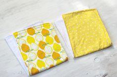 Set of Two Lemons and Yellow Polka Dot Burp Cloths by DixieBloom