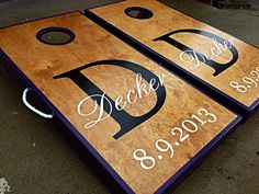 Real Birch Stained Custom Personalized Cornhole by WGCornhole, $205.00
