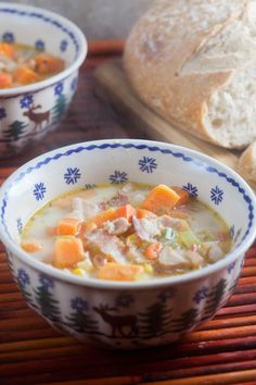 This subtly spicy Jamaican sweet potato chowder, loaded with bacon and spices, is ready in under 40 minutes Healthy Soup Recipes, Great Recipes, Favorite Recipes, Potato Recipes, Fall Recipes, Yummy Recipes, Jamaican Cuisine, Jamaican Recipes, Caribbean Recipes