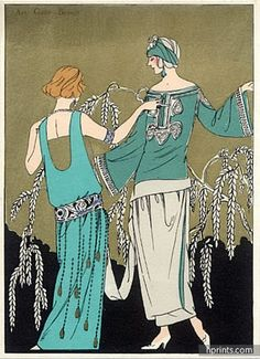 Molyneux & Paul Poiret 1923 Evening Gown, Fashion Illustration, Pochoir