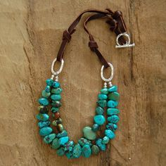 Double Strand Turquoise and Leather Necklace by AmyWellsDesigns