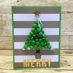 2016 JUNE PAPER PUMPKIN ALTERNATE IDEA Created by Christi Joslin Waite ... Since it is exactly 6 months until Christmas I made a Christmas Tree card filled with Mini M&M's. the grand kids will love this one!!