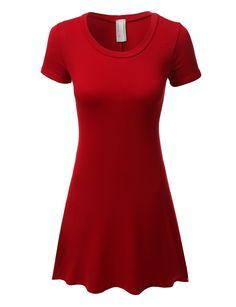 LE3NO Womens Lightweight Short Sleeve Flared Tunic Dress