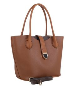Brown Strap-Accent Convertible Tote