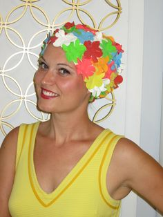 You'll be a real bathing beauty in this adorable vintage colorful flower bathing cap made rubber and in like new condition. Vintage Swim, Vintage Space, Vintage Items, Rainbow Flowers, Colorful Flowers, Bad Fashion, Swim Caps, Vintage Accessories, Psychedelic