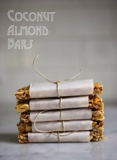 Coconut Almond Bars - Raw Nuts, Unsweetened Coconut Flakes, Honey, Water, Salt