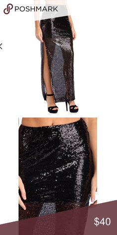 🚨final markdown Long sequined skirt with side split Skirts