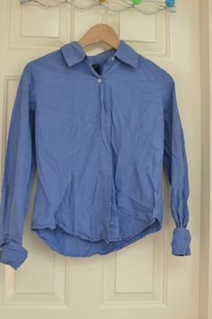 Medium At Last & Co Jeanswear button down with foldover cuffs. Needs a date with an iron but otherwise looks good.