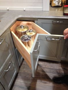 5 Favorite Kitchen + Bath Products From Wellborn corner drawer in the kitchen. very clever Kitchen Cabinets For Sale, Kitchen Cabinet Design, Interior Design Kitchen, Cupboards, Diy Kitchen Storage, Home Decor Kitchen, Home Kitchens, Bathroom Storage, Kitchen Corner