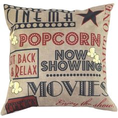 Vintage Movies Popcorn Cushion Cover