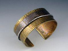 Brass Cuff Mixed Metal Bracelet Textured by MicheleGradyDesigns, $68.00