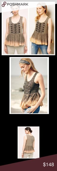Anthropologie beaded empire waist ombré tank Anthropologie beaded empire waist ombré tank. Gently worn once. In perfect condition. Runs a little large. Anthropologie Tops Tank Tops
